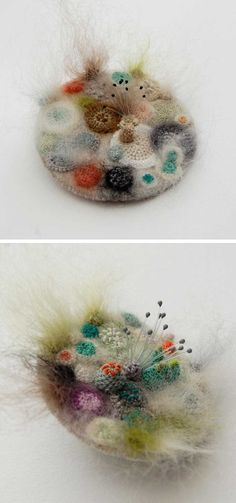 Felted and crocheted bacteria by Elin Thomas