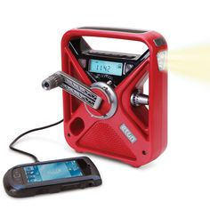 This emergency radio has a USB port for charging smartphones when there's no power. features include an integrated LED flashlight, USB port for charging smartphones, mini-USB cable, and a built-in solar panel for supplemental power.