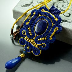 Soutache Pendant Thérèse's Treasure, Blue Pendant, Navy Blue Pendant, Gold Statement Necklace, Gold Blue Ethnic Pendant, Collier Soutache, by OzdobyZiemi on Etsy