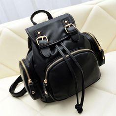 Cute Mini Black School PU Backpack