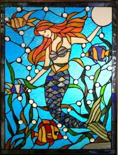 Tiffany style stained glass mermaid window #LGLimitlessDesign and #Contest
