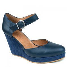 Nouvelle Collection étéEscarpins compensés Minka Design, Koukla en cuir lisse bleu marineEscarpins à talon compensé de 9 cm sur un plateau de 2 cm