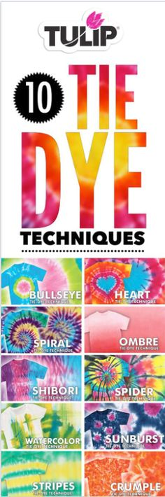 You can create so many different looks with tie dye.  Try one of these techniques.