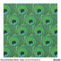 Peacock Feather Fabric - Green Aqua Blue Black