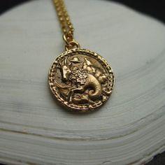 Black Patina Brass Pendant Zodiac Jewelry Earth Element Astrology Modern Capricorn Necklace
