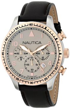 Nautica Men's Analog Display Quartz Leather Watch Cheap Watches, Cool Watches, Watches For Men, Discount Watches, Watch Deals, Brown Leather Watch, Amazing Watches, Women Brands, Stainless Steel Case