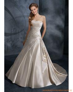 Günstige Brautkleider aus satin schulterfreieres Faltenmieder mit A-Linie-Mode