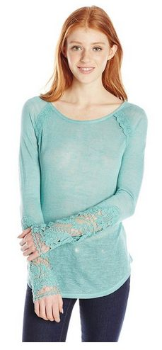 these sleeves are so pretty! Women's Long Sleeve Knit Top with Crochet Trim - A Thrifty Mom