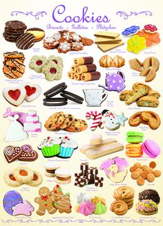 """""""Cookies"""" ~ a 1000 piece jigsaw puzzle by Eurographics Mini Desserts, Delicious Desserts, Yummy Food, Cookie Recipes, Dessert Recipes, Cute Food Art, Watercolor Food, Food Drawing, Cookies"""