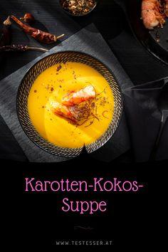 Winterzeit ist Suppenzeit und wer sich von Innen wärmen möchte ist mit der cremigen Möhren/Karotten-Kokos-Suppe gut beraten. Chili, Eggs, Breakfast, Food, Shrimp, Winter Time, Carrots, Recipes, Morning Coffee