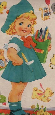 Items similar to Girl Coloring Vintage Digital Image on Etsy Vintage Coloring Books, Vintage Children's Books, Vintage Clip, Images Vintage, Vintage Pictures, Vintage Greeting Cards, Vintage Postcards, Vintage Colors, Vintage Prints