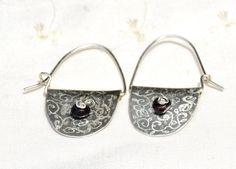 Sale-Half Moon Silver Sheet Earrings. Silver Hoop Earrings. Organic Engraved+Garnet Beads. Hand Crafted. Silver Jewelry. https://www.etsy.com/il-en/listing/191496494/sale-half-moon-silver-sheet-earrings?ref=shop_home_active_5