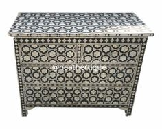 SHOP HOME DECOR NOW! Bone Inlay Furniture - Four 4 Drawers Floral Geometric Honeycomb Moroccan Dresser Sideboard / Credenza | Free Shipping…