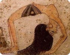 Hieroglyphic of a person doing yoga in Ancient Kemet.          Yoga was practiced in Ancient Egypt, North East Africa, for a very long time. Research has indicated that the philosophy of personality integration, or yoga, was practiced in Egypt for about 10,000 years which is a great expanse of time.