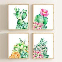Cactus Print/ Cactus Decor/ Nursery Wall Art /Succulent Print Rustic Home Decor Watercolor Pr. - PAINTING - Cactus Print/ Cactus Decor/ Nursery Wall Art /Succulent Print Rustic Home Decor Watercolor Print Bot - Cactus Painting, Watercolor Cactus, Watercolor Print, Cactus Decor, Cactus Art, Cactus Plants, Garden Cactus, Succulents Drawing, Succulents Art