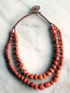 Double Coral Strand Necklace by Jewels Coral Jewelry, Tribal Jewelry, Boho Jewelry, Jewelry Art, Antique Jewelry, Beaded Jewelry, Jewelry Accessories, Jewelry Necklaces, Beaded Necklace