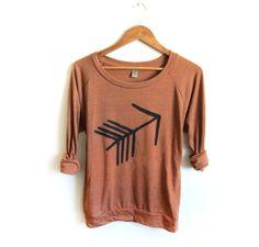 Tribal Arrow HAND STENCILED Slouchy Eco Heather Deep Scoop Neck Lightweight Sweatshirt in Rust and Black