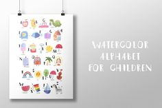 Watercolor alphabet for children by Barkova Nadya on @creativemarket