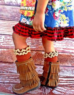 Little Girls Boot Socks Toddler Lacy Boot Socks by ThreeBirdNest, $28.00