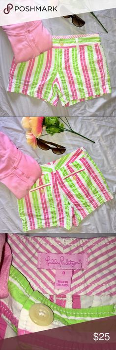 "Lilly Pulitzer Green & Pink Striped Shorts Cute pair of cotton shorts. Vibrant pink green striped print. Waist 14.5"" Inseam 5"" Lilly Pulitzer Shorts"