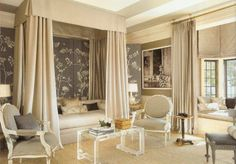Beautiful bedroom that is neutral without being boring. Interior by Mary McDonald