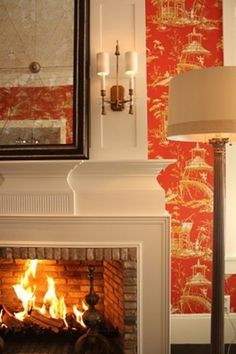Chinoiserie wallpaper and mantle details