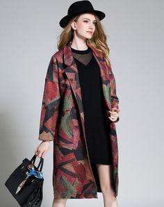 Drop Shoulder Red Printed Front Open Long Coat