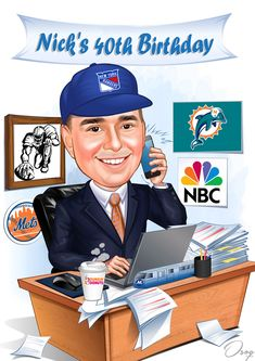 """I'd like to use this as a sign-in board for my husband's surprise 40th Birthday gift. I would like it to say """"Nick's 40th Birthday on the top"""". My husband is always on his laptop and his phone, and he is an IT director. He has worked for NBC Universal for many years. He is a Mets, Dolphins and NY Rangers fan. He always drinks Dunkin and takes Metro North everyday. 60th Birthday Cakes, Happy Birthday Parties, Birthday Cards, Birthday Cartoon, Surprises For Husband, Caricature Drawing, The Magicians, Cartoon Characters, Card Games"""