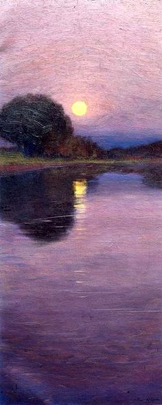"""1916 Arthur Wesley Dow - """"Moonrise"""", 1916 - Oil on canvas - Ipswich Historical Society (United States)Arthur Wesley Dow - """"Moonrise"""", 1916 - Oil on canvas - Ipswich Historical Society (United States) Landscape Art, Landscape Paintings, Oil Paintings, Mary Cassatt, Oil Painting Reproductions, Nocturne, Love Art, Painting Inspiration, Painting & Drawing"""
