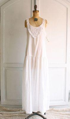 80s white cotton prairie dress nightgown deadstock via bohemiennes White  Nightgown 02a206a9c