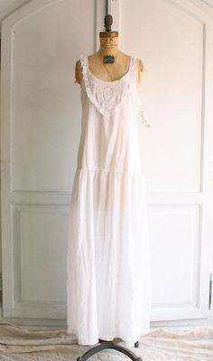 80s white cotton prairie dress nightgown deadstock via bohemiennes