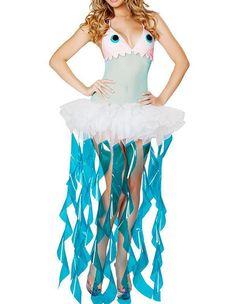 Jellyfish Halter Sheer Draped Female Halloween Costume