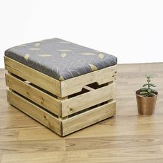 Introducing the apple crate ottoman- stylish multipurpose wooden storage for any space with hand printed fabric.I design and hand screen print all the fabrics myself in London using natural linen or cotton drill with environmentally friendly water based inks. Choose from either geometric cube or leaf parquet pattern available in various colour combinations to suit your space (see colour options available in the product images ) I also offer the custom option where you can provide- me with…