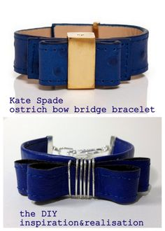 DIY Kate Spade Inspired Ostrich Bow Bridge Bracelet Tutorial from inspiration & realisation here. Top Photo: $88 Kate Spade Ostrich Bow Bridge Bracelet here, Bottom Photo: DIY by inspiration & realisation here. Really clever tutorial using a recycled...