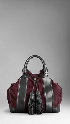 Burberry Large Framed Suede Tassel Tote Bag