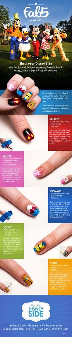 Disney Fab5 DIY Nail Tutorial. Click for more ways to Show your #DisneySide #WaltDisneyWorld