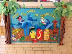 Third grade Welcome Bulletin Board. Ride The Surf to Knowledge. Surfing Bulletin Boards, Welcome Bulletin Boards, Classroom Welcome, Classroom Ideas, School Stuff, Back To School, School Themes, Third Grade, Knowledge