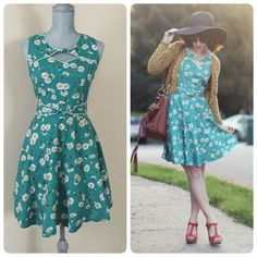 ModCloth Good 'ol Daisy Dress Good 'ol Daisy Dress by trollied dolly from ModCloth. Sz M. Zipper on side, stretchy around waist at back & ties at back. Super cute! Worn only a couple of times. Price firm. ❌trades ModCloth Dresses