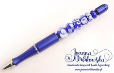 Pen in blue with handmade lampwork glass beads by Joanna Orlikowska