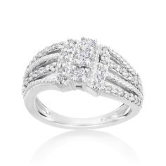 Andrew Charles 14k White Gold 1/2ct TDW Diamond 3 Row Ring (H-I, SI2-I1) (Size 7.5), Women's