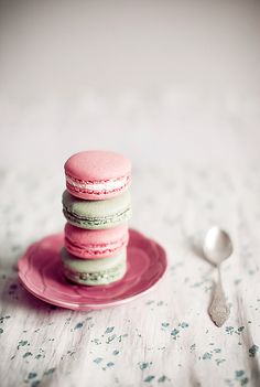 A very sweet stack of pink and pale green macarons. #pink #green #macarons #food #cooking #baking #cookies #dessert #French #pastry