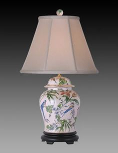 Porcelain Chinese Export style multicolor design lamp with three way socket and with Empire off white shade. Style H x W. Porcelain Figurines, Lamp Design, Porcelain Lamp, Lamp, Neoclassical Design, Multicolor, Porcelain, Porcelain Tile, Ginger Jar Lamp