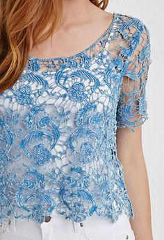 Scalloped Floral Crochet Top | Forever 21