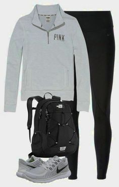 sweater pink by victorias secret grey backpack leggings nike.- sweater pink by victorias secret grey backpack leggings nike sneakers sweater pink by victorias secret grey backpack leggings nike sneakers - High School Outfits, Lazy Day Outfits, Casual Outfits, Cute Outfits, Simple College Outfits, Everyday School Outfits, School Shoes, Looks Style, Looks Cool