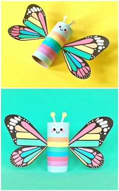 """Rainbow Butterfly Paper Tube Kids Craft with Free Printables. Print this colorful design for a happy spring project for kids or there's a also a blank """"color in"""" option to design your own! Kids Crafts, Toddler Crafts, Creative Crafts, Easy Crafts, Arts And Crafts, Crafts Cheap, Craft Kids, Craft Free, Spring Projects"""