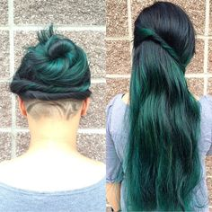 Mermaid hair with a hidden gem! | RP @imallaboutdahair | Color by @thehearsalon | #pravana #pravanavivids #greenhair #undercut