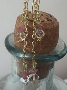 Handcrafted Green Peridot, Pink Tourmaline chip and Clear Quartz gemetone dangle earring by MoonBeamsJewels on Etsy