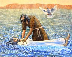 The #Baptism of #Christ. #figurativeart #Oilpaint on #canvas #jordanriver #dove #holyspirit #river #johnthebaptist #christianity #christianart #water