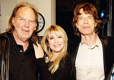 Stevie Nicks, Mick Jagger and Neil Young photographed backstage at the Ahmet Ertegun Tribute Show at Rose Theater, Jazz at Lincoln Center in New York City, 2007. Tumblr