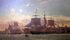 Christopher Blossom. Packetship UNITED STATES in Boston Harbor, 1828. J. Russell Jinishian Gallery, Inc.